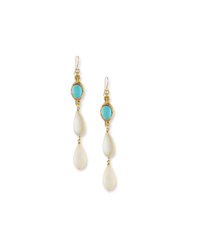 Penda Light Horn & Turquoise Drop Earrings