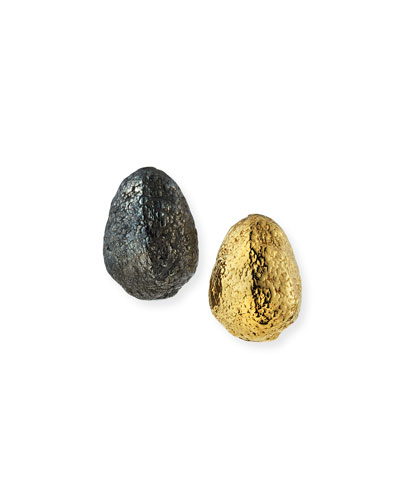 Black Silver & Yellow Golden Nugget Earrings