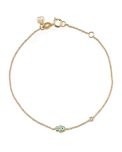 14k Mini Enamel Hamsa Bracelet w/ Diamond