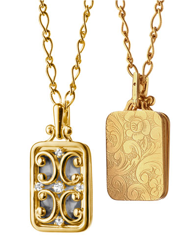 Gate Locket Necklace with Diamonds, 30