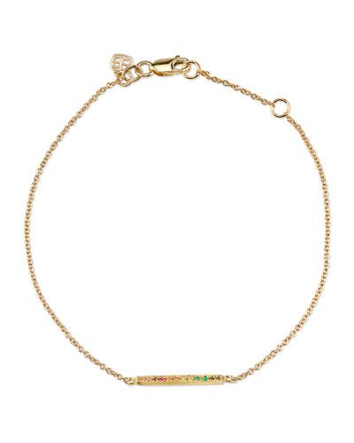 14k Rainbow Pave Bar Bracelet