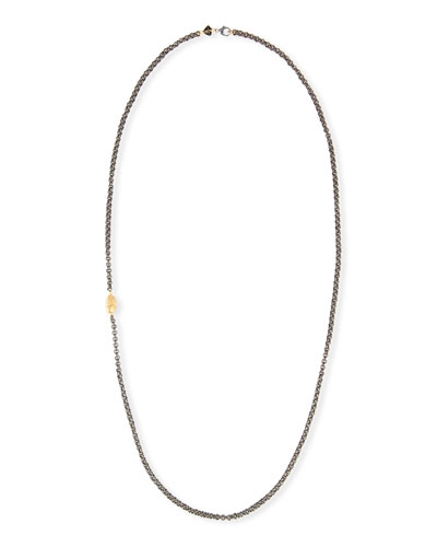 Double Link Chain Necklace with Golden Nugget