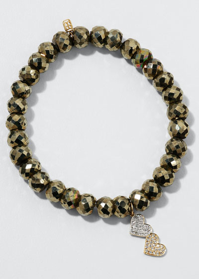 8mm Champagne Pyrite Beaded Bracelet with Diamond Double Heart Charm