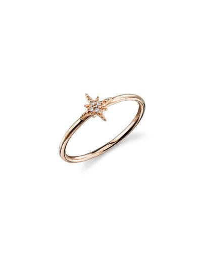 14k Rose Gold Diamond Starburst Ring, Size 6.5