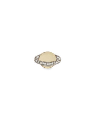 14k Small Saturn Stud Earring w/ Diamonds