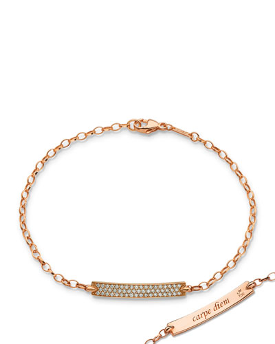 Petite Poesy Diamond ID Bracelet in 18K Rose Gold