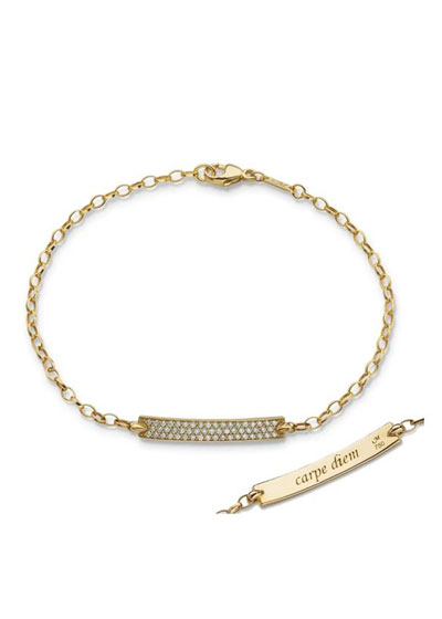 Petite Poesy Diamond ID Bracelet in 18K Yellow Gold