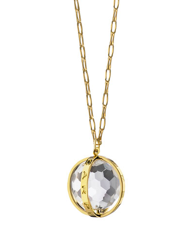 18K Carpe Diem Rock Crystal Charm Necklace on 30