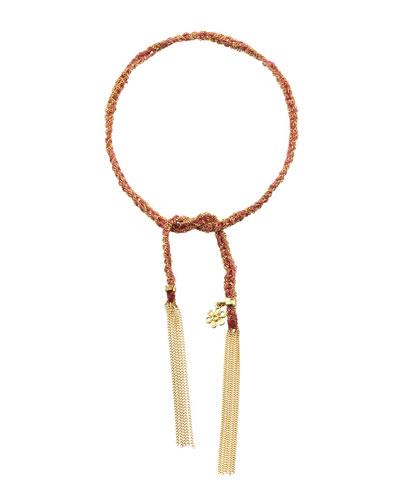 18K Gold Pink Silk Lucky Bracelet with Flower