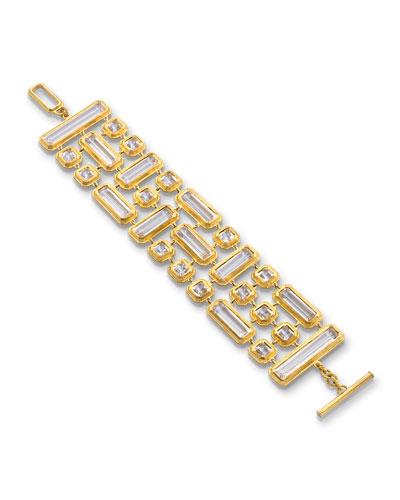 Yellow Gold Mosaic 3-Row Rock Crystal Bracelet