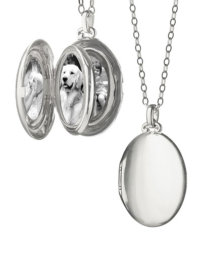 Silver Satin-Finish 4-Image Oval Locket Necklace
