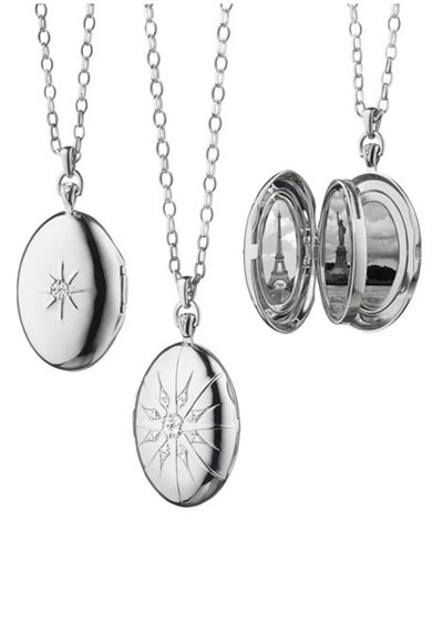 Sterling Silver Starburst Locket Necklace with White Sapphires