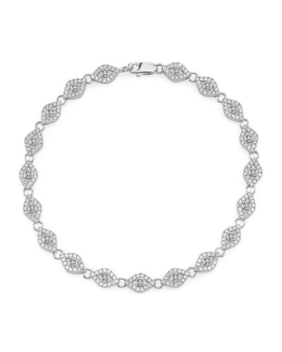 Small Diamond Evil Eye Link Bracelet in 14K White Gold
