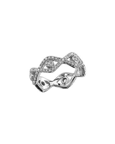Diamond Evil Eye Eternity Ring in 14K White Gold, Size 6