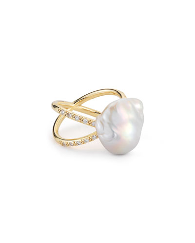 Pearl & Diamond Crossover Ring in 14K Gold, Size 7