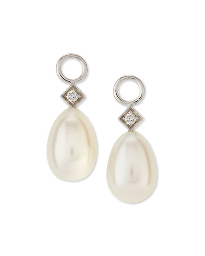 White Gold Pearl Briolette Earring Charms