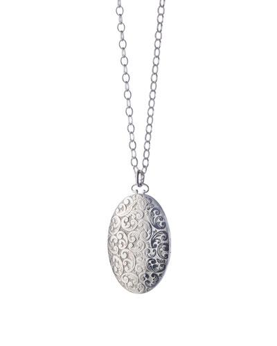 Oval Floral-Carved Locket Necklace