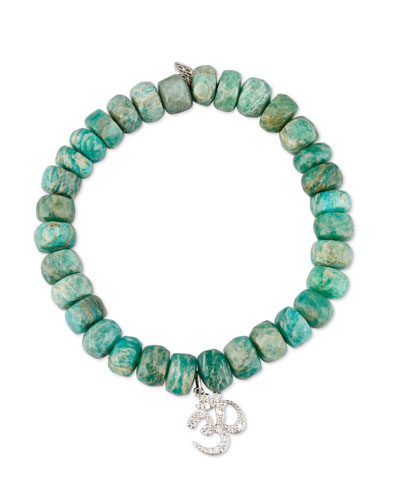 Beaded Green Amazonite Bracelet with Diamond Om Charm