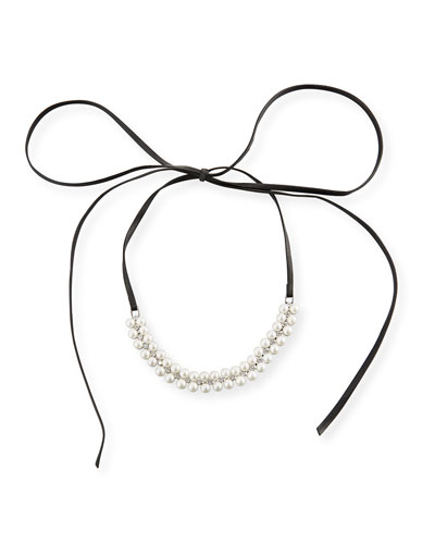 Monarch Pearly Leather Choker Necklace, Black