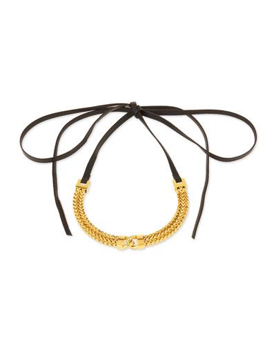 Link-Front Leather Choker Necklace