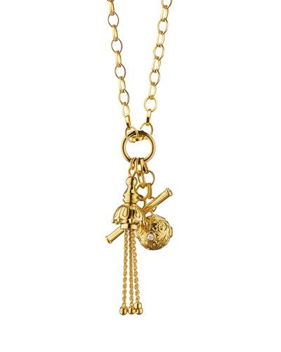 Monica Rich Kosann 18k Gold Tassel/Toggle/Ball Charm Necklace 1HNobu