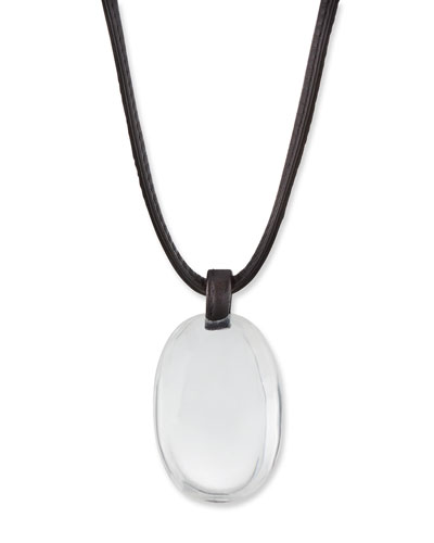 Crystal Pendant Necklace on Leather Cord