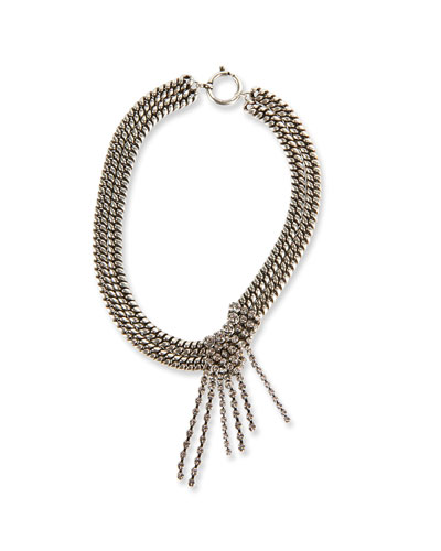 Chain Choker Necklace with Glass Drop