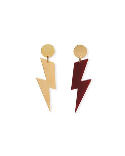 Mismatched Lightning Bolt Drop Earrings