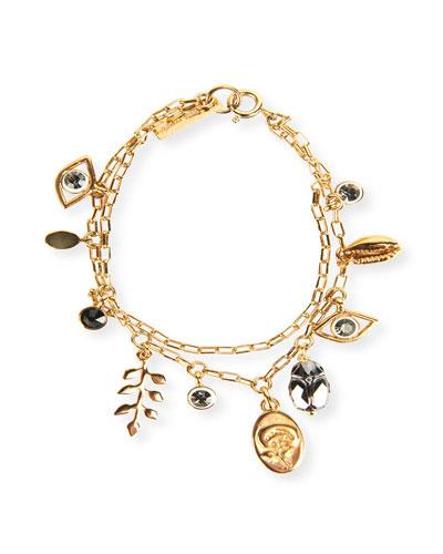 Plated Double-Chain Charm Bracelet
