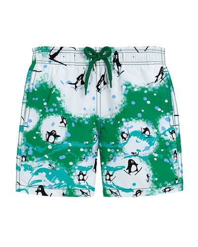 Penguin-Print Swim Trunks, Green, Boys' 4-12