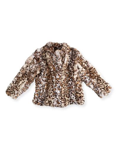 Leopard-Print Fur Biker Jacket, Size 2-14
