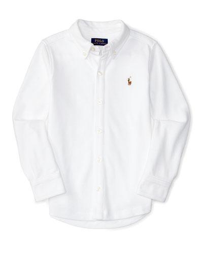 Cotton Oxford Sport Shirt, White, Size 2-7