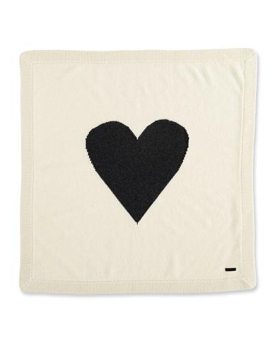 Cashmere Heart Blanket, White