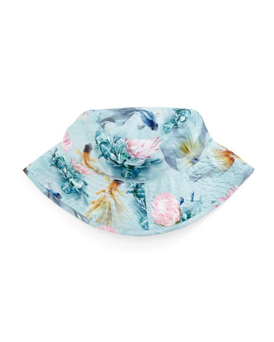 Nadia Fishpond Sun Hat, Blue Pattern, Size 1-8