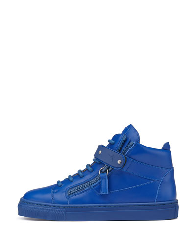 Leather High-Top Sneaker, Royal Blue, Toddler/Youth