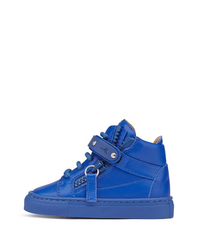 Leather High-Top Sneaker, Royal Blue, Infant/Toddler