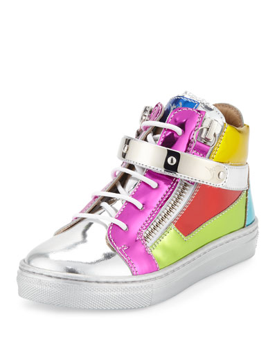 Shooting Metallic Mid-Top Leather Sneaker, Multicolor, Infant/Toddler