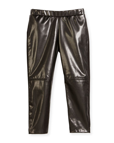 Vegan Leather Leggings, Black, Size 4-7