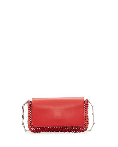 Mini Leather Shoulder Bag, Red