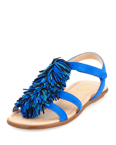 Wild Fringe Suede Sandal, Blue, Toddler/Youth