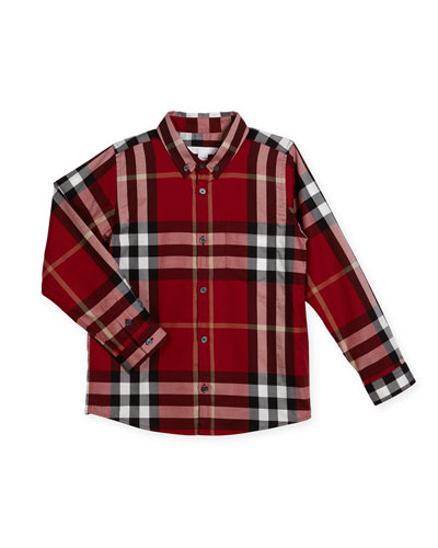 Fred Short-Sleeve Check Shirt, Parade Red, Size 4