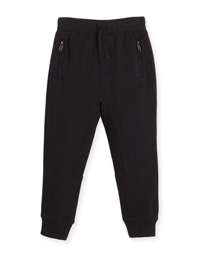 Phill Cotton Track Pants, Black, Size 4-14