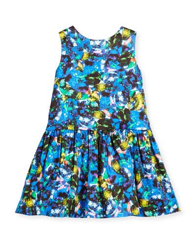 Sleeveless Abstract Smocked Dress, Size 8-14