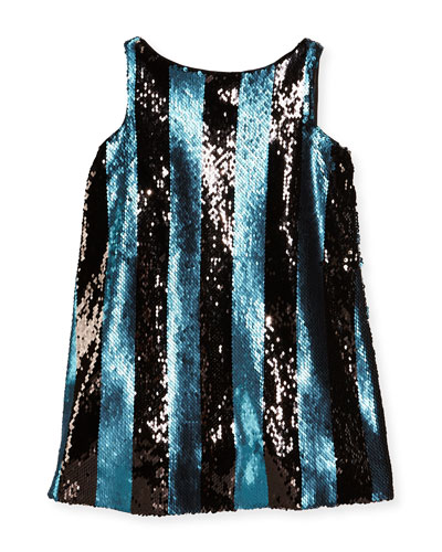 Sleeveless Sequin Stripe Shift Dress, Blue, Size 8-14