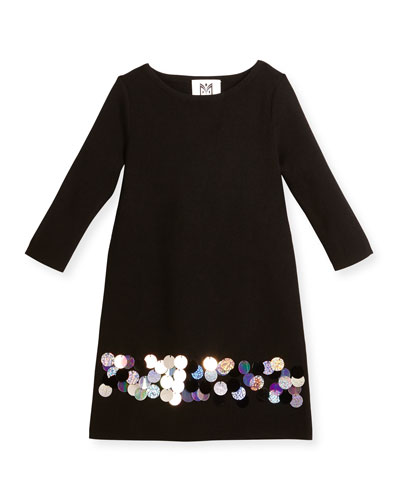 Long-Sleeve Sequin Ponte Shift Dress, Black/Multicolor, Size 8-14