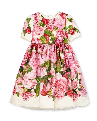 Short-Sleeve Rose Organza Dress, Pink, Size 8-12