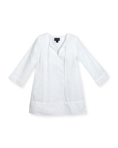 Long-Sleeve Cotton Eyelet Caftan, White, Size 2-14