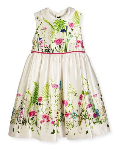Sleeveless Collared Botanical Flora Mikado Dress, Multicolor, Size 4-8