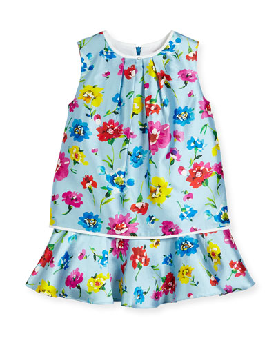 Sleeveless Scattered Flower Mikado Flounce Dress, Multicolor, Size 4-14