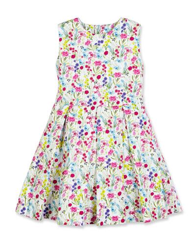 Sleeveless Botanical Flora Cotton Party Dress, Multicolor, Size 4-14
